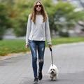 Design da marca Das Mulheres Meados Cintura Rasgado Jeans Skinny Afligido Lavado Calças Jeans Calças de Brim