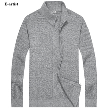 E-artist Men's O Neck Slim Fit Casual Knitted Sweaters Cargidans Male Knitwear Sweatercoats for Autumn Winter Plus Size 5XL M08
