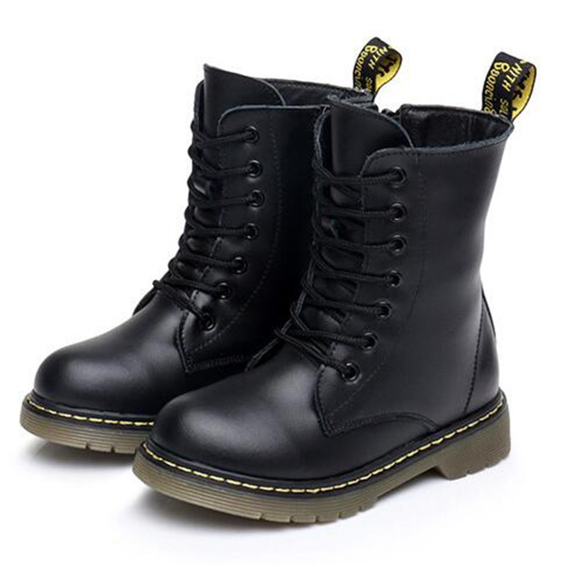Martin Boots Kids Winter Genuine Leather Plush Snow Boots For Girls Boys Casual Walking Leisure Outdoor Ankle Toddlers Shoes