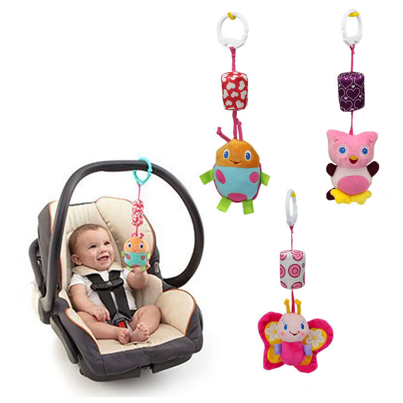 New 1pc Baby Plush Toy Crib Bed Stroller Hanging Ring Bell Toy Soft Baby Rattle Early Educational Cute Cartoon Doll