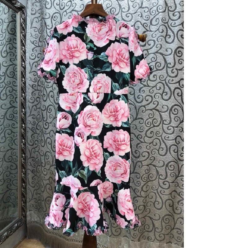 De Arrivée O Faites La Courtes Partie Main Imprimer Rose Dames Nouvelle Mode Sirène Habille Robe cou Manches Fleur Perles Printemps Femmes 2019 À ZwtWz50ZCq
