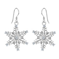 BELLA 925 Sterling Silver Snowflake Bridal Earrings Cubic Zircon Earrings Silver/Rose gold Wedding Party Jewelry Christmas Gift