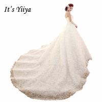 DHL Free Shipping 2017 New Custom Made Lace Rose Strapless Train Wedding Dresses White Real Photo Trailing Bride Gowns HS573