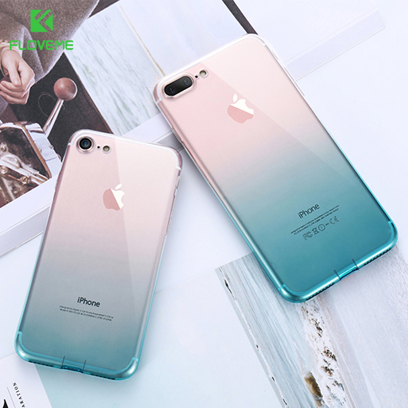 FLOVEME For iPhone 6 6S iPhone 7 8 Plus Ultra Thin Cases for iPhone X XS Max XR Clear TPU Phone Cases For iPhone 5S 5 SE Fundas  for iphone 7 plus floating glitter sequins tpu cell phone shell casing smile