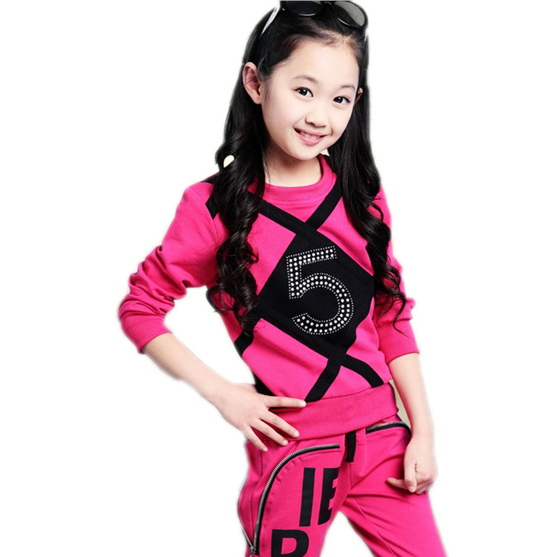 Girls Set Spring & Autumn Children's Clothing Sets Teenage Girls Long Sleeve Rhinestone Tracksuit Kids Clothes Sports Suit 4-11T