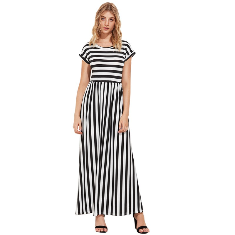 Black White Striped Dress New Elegant Summer Dress Women Short Sleeve O Neck Fashion Fit And Flare Casual Dress T9
