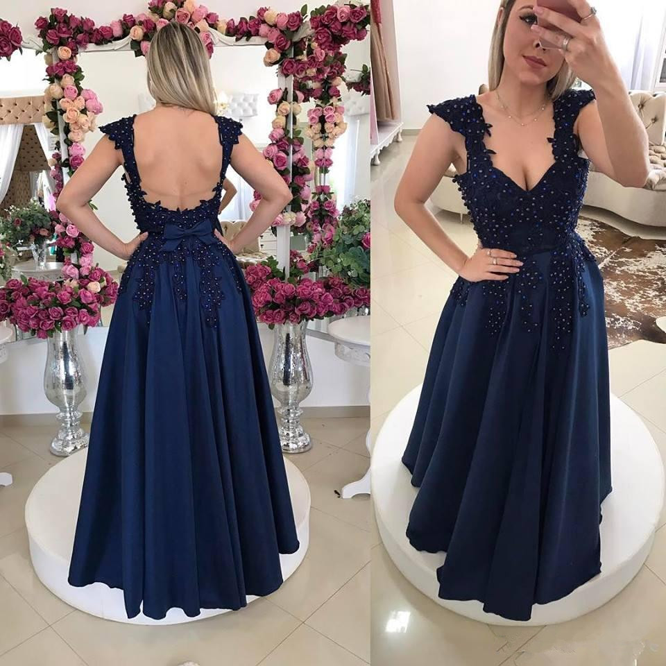 Navy Blue 2019   Prom     Dresses   A-line V-neck Cap Sleeves Lace Pearls Party Maxys Long   Prom   Gown Evening   Dresses   Robe De Soiree
