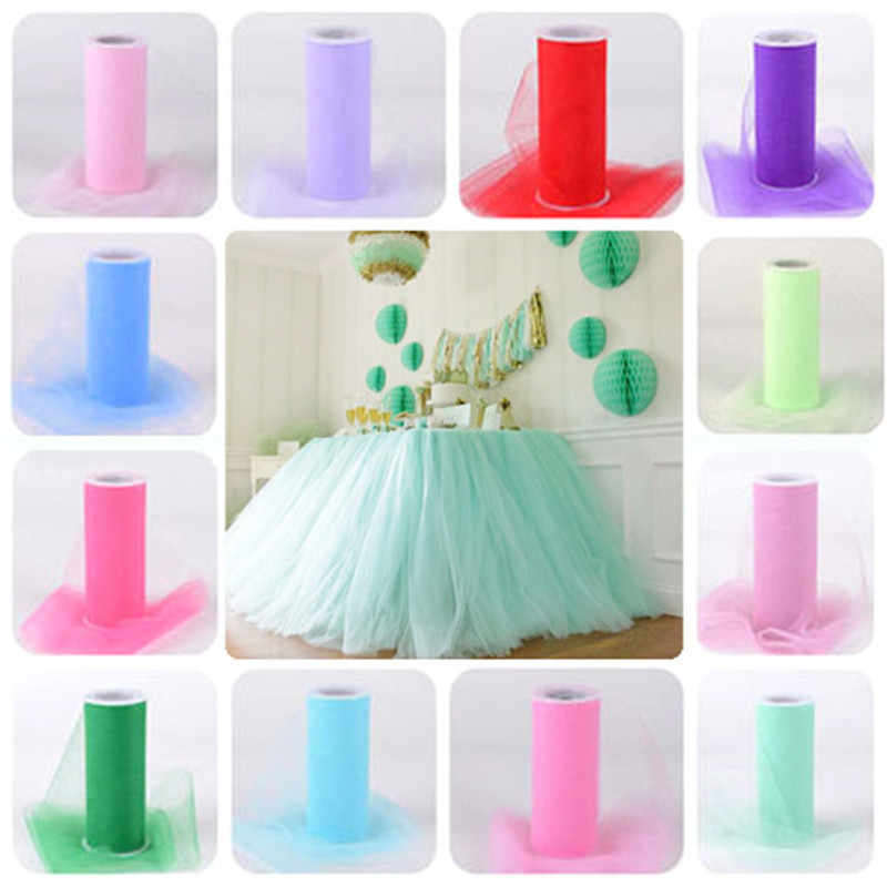 22Mx15CM Organza Sheer Gauze Element Table Runner Tissue Tulle Roll Spool Craft Party Crystal Chiffon Wedding Decoration 7zSH759