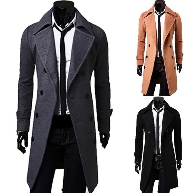 LASPERAL новый для мужчин Мода длинное шерстяное пальто 2018 тонкий повседневное большой размеры рубашка шерстяное пальт