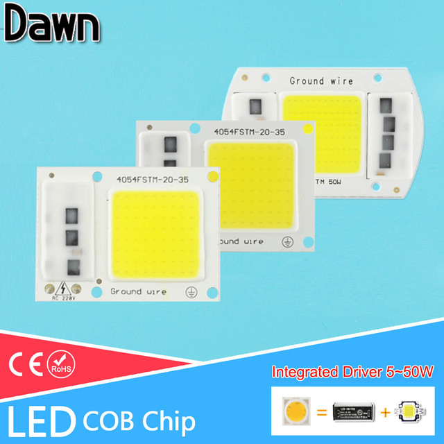 1~5Pcs COB LED Chip 220V Integrated Smart IC Lamp 5W 10W 20W 30W 50W For Outdoor FloodLight Downlight Cold White/Warm White