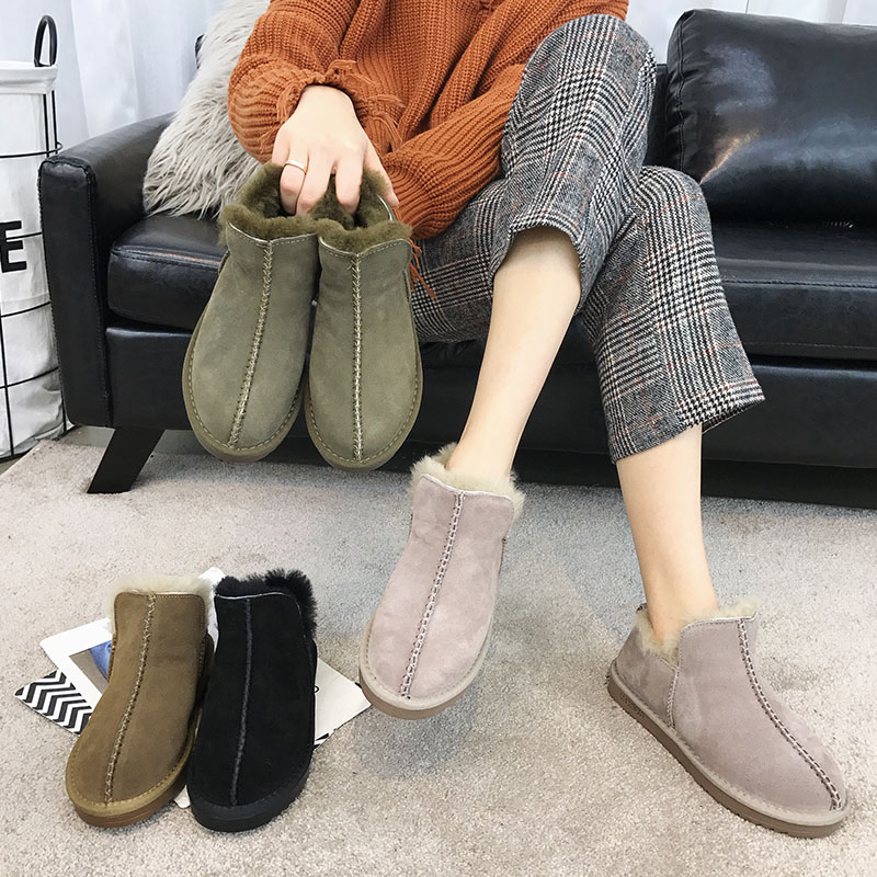 SWYIVY Winter Ankle Boots Wool Fur Woman 2018 Slip On Female Snow Boos Warm Shoes Genuine Leather Comfortable Winter Snowboots ...