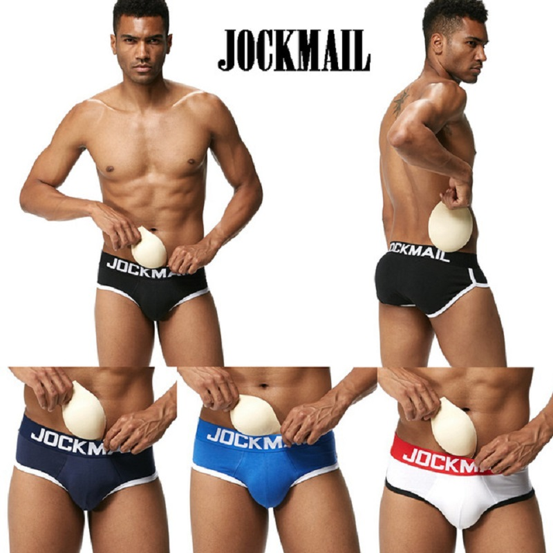 JOCKMAIL Brand Enhancing Mens Underwear Briefs Sexy Bulge Gay Penis pad Front + butt Magic buttocks Double Removable Push Up Cup