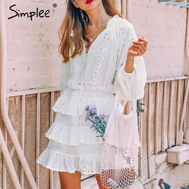 Simplee элегантный выдалбливают Белое платье Женщины 2018 Лето Вышивка оборками на шнуровке платья Повседневная Уличная bodycon