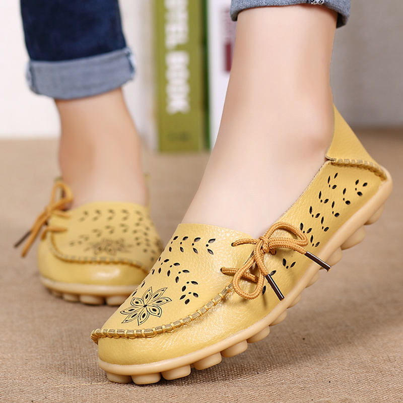 Women Flat Soft Genuine Leather Shoes Woman Loafers Slip On Driver Mocassin Femme Breathable Summer Flats Women Leather Shoes