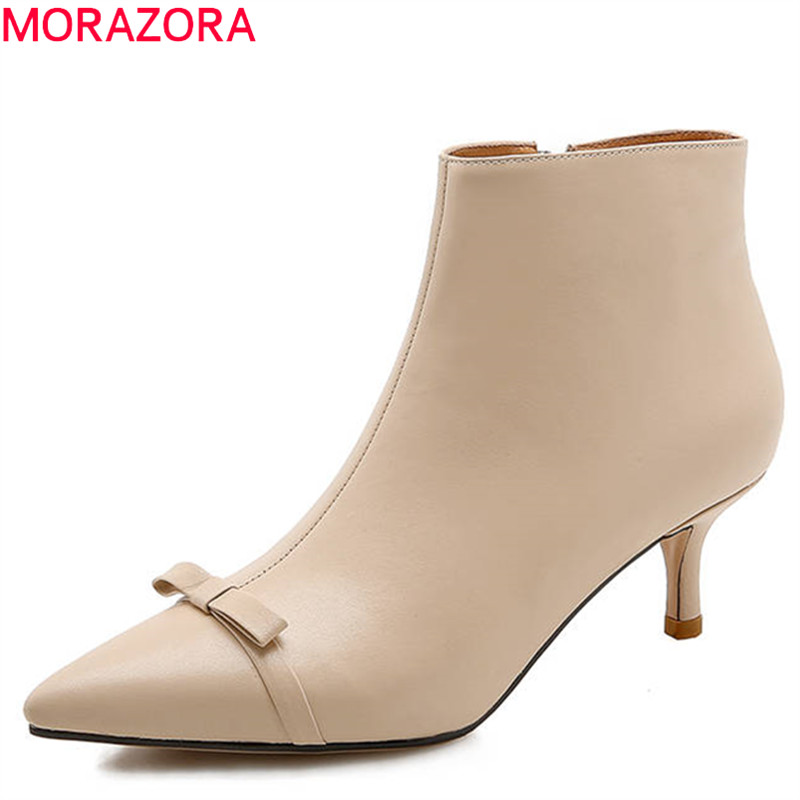 MORAZORA 2018 new fashion shoes woman genuine leather shoes pointed toe autumn boots bowknot solid colors ankle boots for women printing new boots 2015 autumn winter genuine leather mixed colors thick with pointed toe woman boots stylish comfortable shoes