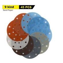 Disque abrasif à Film souple, 150mm, 17 trous, 45 pièces, 6 pouces, 600 à 5000 grains, pour la peinture automobile humide/sèche
