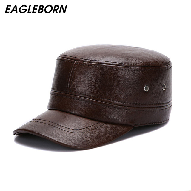 578188b0300 EAGLEBORN 2018 New Winter Genuine Leather Hats for Men Military Cap with  Ear Flaps Army Sailor Captain Caps Dad Gift Hat