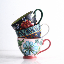 Creative Ceramic Breakfast Cup Handpainted Flower Mug Milk Oat Dessert Couple
