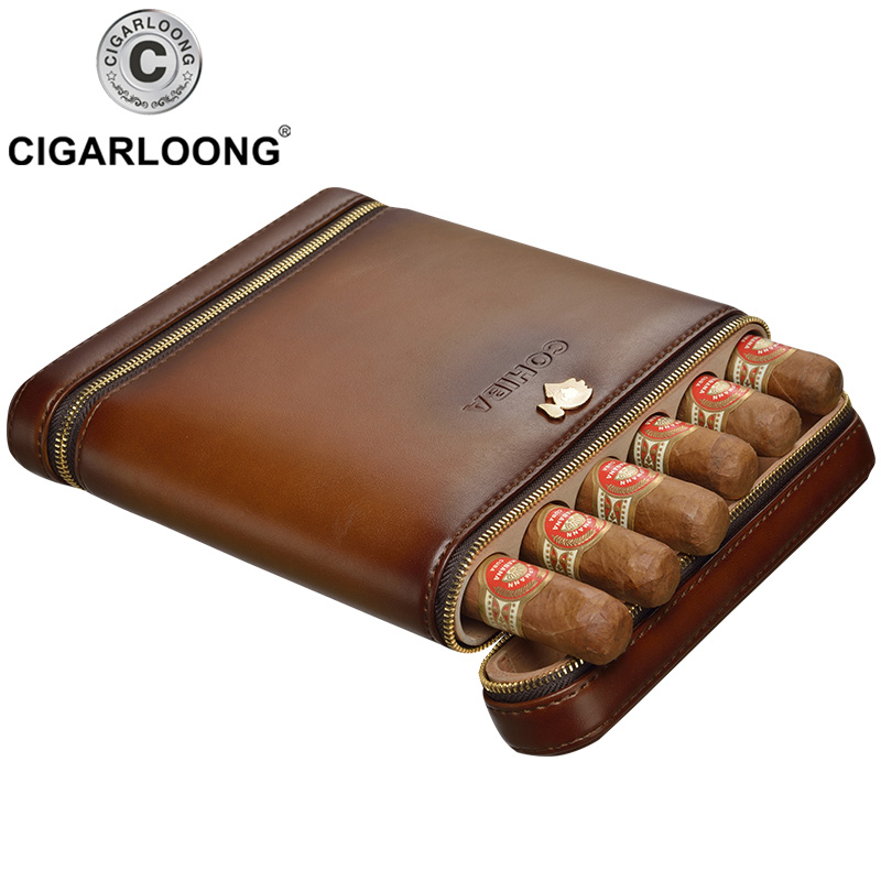 COHIBA New Design Cigar Travel Case Mini Humidor Holds 6 Cigars Made by PU Leather and Cedar Wood  CP-1020
