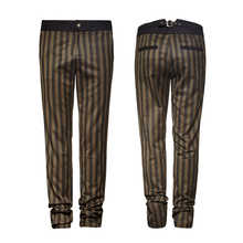 PUNK RAVE Steampunk Men Stripe Pants High Grade Suit Woven Trousers Uniform Coffee Fit Trousers Gothic Palace Noble Suit Pants