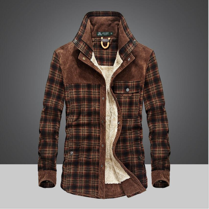 Hiver neige chaud hommes chemises épais doublé Plaid grande taille marque 100% coton 2018 nouveau coupe vent décontracté mâle Blouses manteau militaire-in Robes chemises from Vêtements homme on AliExpress - 11.11_Double 11_Singles' Day 1