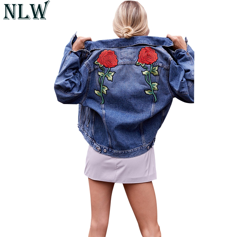 NLW Blue Rose Embroidery Denim   Jacket   Coat Long Sleeve Turn Down Collar Distress Spring Summer Autumn 2018 Women   Basic     Jacket