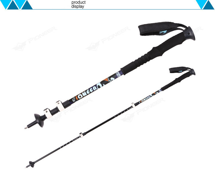 2pcs Pioneer Adjustable Carbon Fiber Aluminum Trekking Pole Hiking