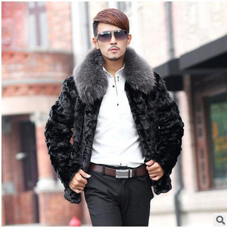 S/5Xl Mens Faux Mink Fur Jacket Male Winter And Autumn Fur Collar Jackets  Patchwork Large Size Man Warm Clothes Outwear C2