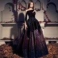 New Fashion 2016 mangas compridas vestidos de noite roxo Organza Lace frisada Dubai Prom vestido até o chão vestido Gatsby
