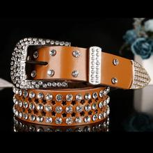 Atlas Western Cowgirl Bling Cowgirl Leather Belt The New Fashion Designed  Classic Style Belt Clear Rhinestone 2750590cd47d