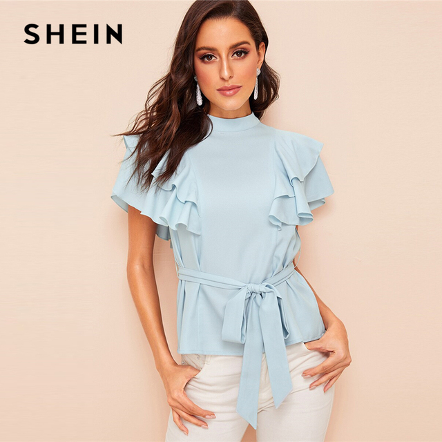 a7b8c7b3d7 SHEIN Mock-Neck Layered Ruffle Armhole Belted Blouse Elegant Blue Stand  Collar Women Blouse 2019 Summer Tops and Blouses