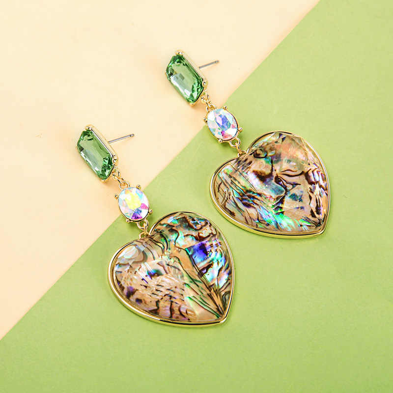 JOUVAL Fashion Big Heart Sea Shell Drop Earrings Women's Rhinestone Crystal Dangle Earring 2019 Summer Statement Brincos Jewelry