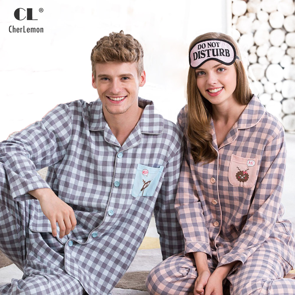 466b7a94e6 Spring Cotton Women Two Piece Set Pajamas Long Sleeve Pullover Lover Couple  Casual Sleepwear Plaid Pant ...