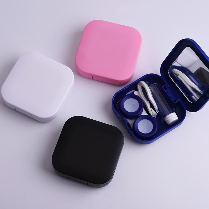 1PC New Solid plastic Contact Lens Case Eyes Care Kit Holder Container Gift Travel Portable Sifang smooth surface Accessaries