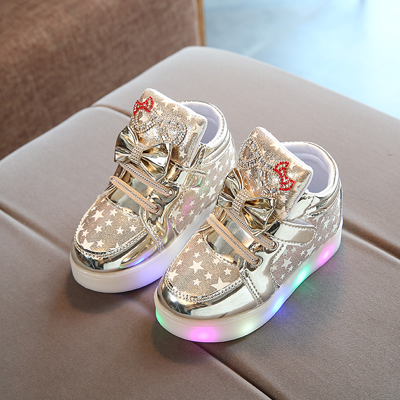 BAIYOUXIONG Children Shoes New Spring Hello Kitty Rhinestone Led Shoes Girls Princess Cute Shoes With Light EU 21-30 ...