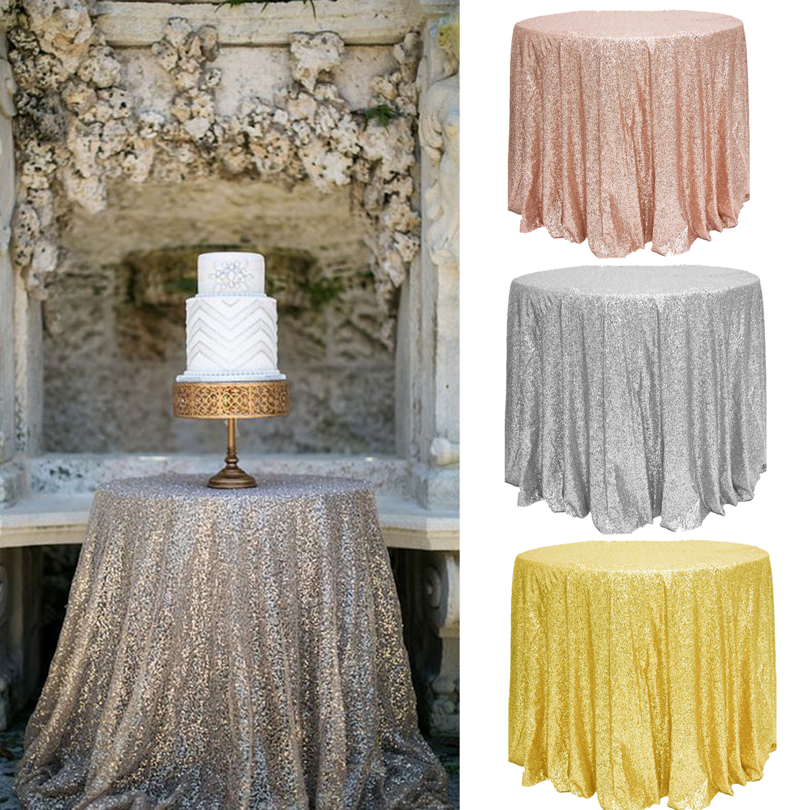 Sparkly Glitter Sequin Tablecloth Bling Table Cover Table