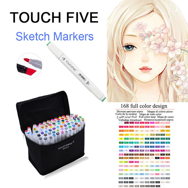 TOUCHFive Single Art Markers Pen Drawing White Dual Head Alcohol Sketch Marker Pen For Choose Color Manga Painting Art Supplies8