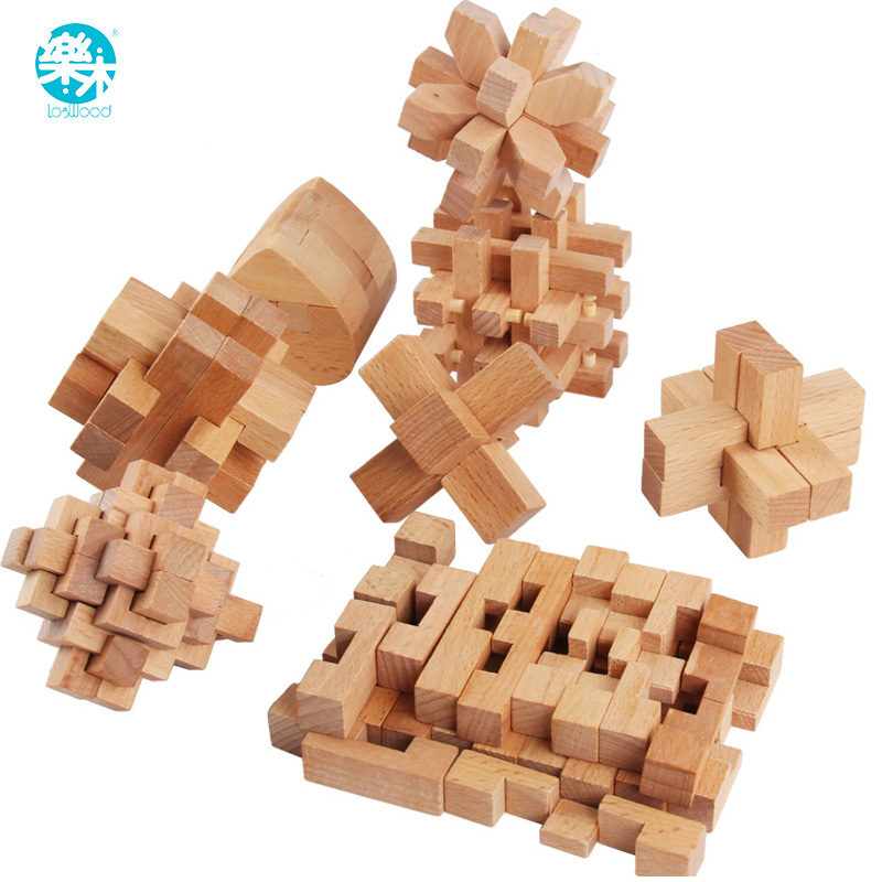 Logwood Wooden Stress Relief Toy Stress Relief Toy Luban lock Adult and baby toys Learning & Educational 9pcs gifts for Children
