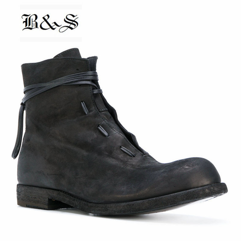 Black& Street 2018 winter vintage suede Leather Roma style Boots England college Young handmade denim Real Leather ShoesBlack& Street 2018 winter vintage suede Leather Roma style Boots England college Young handmade denim Real Leather Shoes