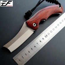 Hot Selling EF01 Folding Blade Knife D2 Steel Wooden Handle EDC Camping Knives Outdoor Hand Tool