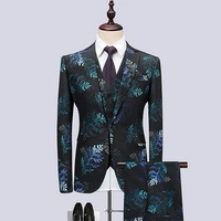 Корейский стиль новые мужские выпускные костюмы для свадьбы 2018 дизайнер Slim Fit смокинг Красный Синий принт Жених костюм мужской пиджак + жиле