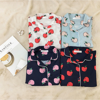 4 Colors Women Printed Apples Pajamas Turn Down Collar Sleepwear 3 Three Pieces Set Shirt Long