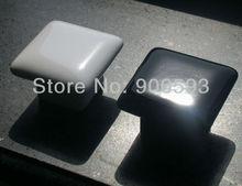 цена на 12pcs lot free shipping\Porcelain black glaze square cabinet knob\porcelain handle\porcelain knob