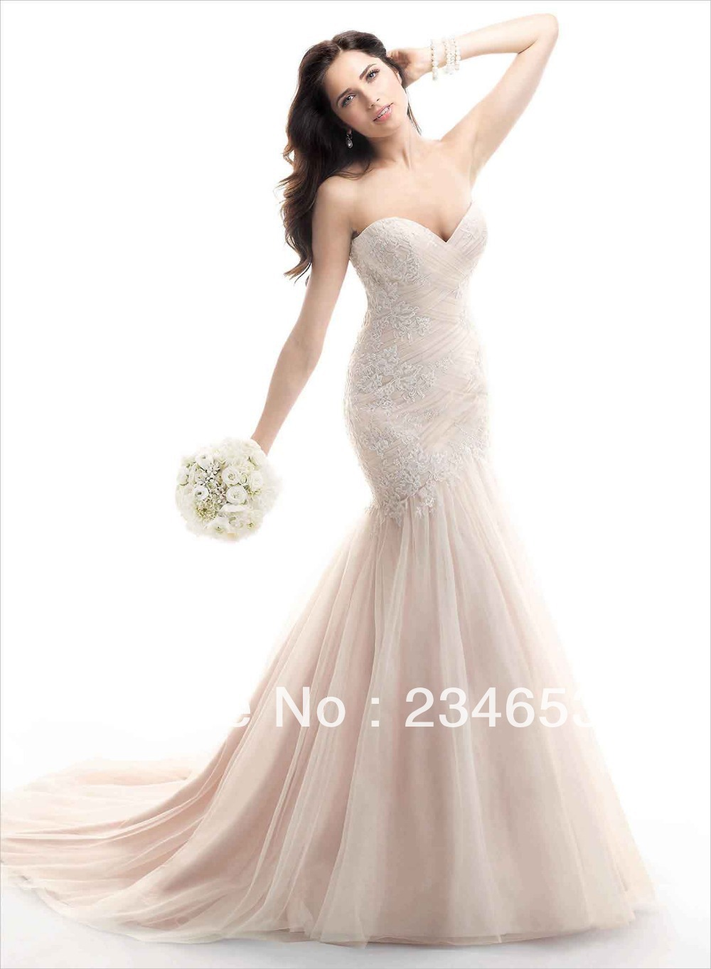 2014 Sexy Sweetheart Blush Criss Cross Lace Tulle Mermaid Wedding ...