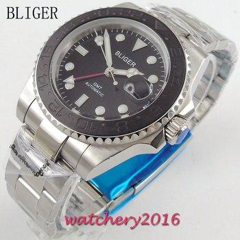 40mm Bliger black Dial Deployment Clasp Luminous Hands Date window Sapphire Crystal GMT Automaic Movement Men's Watch
