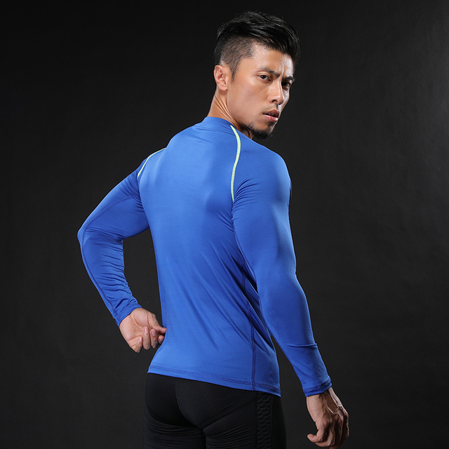 NANSHA Muscle Men Compression Shirts T-shirt Long Sleeves Thermal Under Top MMA Rashguard Fitness Base Layer Weight Lifting