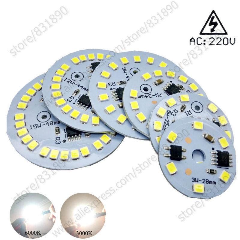 2pcs AC 220V led pcb High brightness 3W 5W 7W 9W 12W 15W SMD 2835 integrated IC Driver aluminum Light source panel for led blub 50w led pcb with smd5730 integrated ic driver aluminum plate free shipping