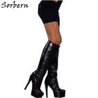 Sorbern/черные лакированные женские сапоги до колена из змеиной кожи обувь на шпильке и на платформе женская обувь размер 13 на заказ