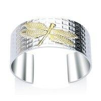 HERMOSA jóias Grande pulseira Dragonfly forma Selo 925 Prata atacado moda ajustável PULSEIRA CUFF SZ000080