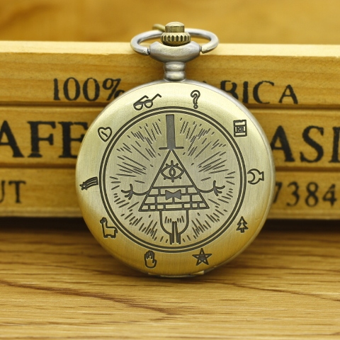 New Bronze Vintage Bill Cipher Gravity Falls Quartz Pocket Watch Analog Pendant